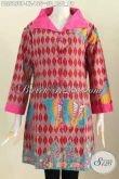Jual Online Baju Batik Kerah Lebar, Blus Batik Solo Halus Proses Printing Yang Bikin Wanita Terlihat Keren Dan Cantik Maksimal [BLS5850P-XL]