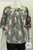 Online Shop Baju Batik Terlengkap, Sedia Koleksi Terbaru Blus Batik Tanpa Kerah Motif Bagus Proses Cap Harga 150K [BLS5916C-M]