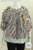 Baju Blus Batik Wanita Dewasa, Hadir Dengan Model Tanpa Kerah Motif Modern Klasik Proses Cap Di Jual Online 150K [BLS5925C-XL]