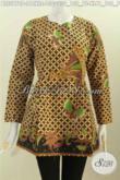 Blus BatikPrinting Klasik Motif Kawung, Berbahan Halus Warna Elegan Model Lengan Panjang Pake Resleting Depan Harga 130K [BLS5970P-L , XL]