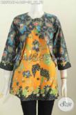 Batik Blus Bagus Bahan Halus Proses Printing Model Lengan Panjang Kombinasi Rompi Harga 135 Ribu [BLS5984P-L]
