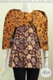 Blus Batik Modern, Baju Batik Wanita Trendy Model Bagus Dan Berkelas Cocok Buat Kerja Dan Pesta, Bahan Adem Motif Proses Printing Hanya 100 Ribuan [BLS6054P-L , XL]