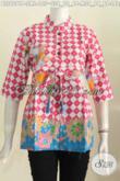 Jual Baju Blus Kerah Shanghai Warna Trendy Motif Terkini Prosers Printing Lengan Tiga Perempat Pake Karet Belakang [BLS6091P-S , L]