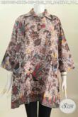 Baju Blus Batik Solo Model A Kerah Kemeja, Pakaian Batik Trendy Bahan Adem Proses Printing Motif Bagus Hanya 125K [BLS6105P-XL]