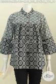 Batik Blus Proses Cap Untuk Wanita Muda Dan Dewasa, Baju Batik Model Kerah Shanghai Warna Monokrom Di Jual 140K [BLS6296C-XL]