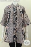 Jual Online Pakaian Batik Wanita Terkini, Blus Batik Halus Kerah Shanghai Kombinasi 2 Motif Klasik Lawasan Harga 155K [BLS6319BT-M]