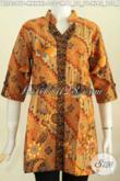 Baju Blus Lengan Pendek, Pakaian Batik Wanita Model Deck Bahan Halus Motif Elegan ProsesPrinting 100 Ribuan [BLS6397P-M]