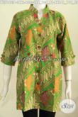 Baju Batik Modern Untuk Tampil Gaya, Busana Batik Solo Nan Modis Model Deck Lengan Pendke Warna Hijau Di Jual Online 130 Ribu [BLS6403P-XXL]