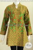 Blus Batik Printing Istimewa Model Rempel Depan Kerah Shanghai Bahan Adem Lengan Panjang Tampil Elegan Dan Modis [BLS6408P-M]