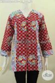 Aneka Pakaian Batik Solo Model Terkini, Baju Bati Size L Kerah V Kombinasi 2 Motif Proses Cap Harga 160K [BLS6428C-L]