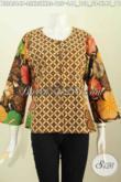 Baju Batik Halus Keren Bahan Adem Proses Printing, Pakaian Batik Solo Terkini Yang Bikin Wanita Tampil Bergaya [BLS6564P-L , XL]