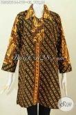 Blus Batik Ukuran L Dengan Kombinasi 2 Motif Klasik, Baju Batik Cap Bautan Solo Kerah Lancip Pas Banget Untuk Kerja Kantoran [BLS6581C-L]