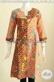 Baju Blus Batik Terusan, Pakaian Batik Halus Dan Istimewa Motif Berkelas Model Kerah V UntukPenampilan Makin Trendy [BLS6618P-M , L]