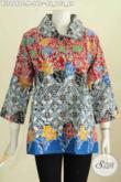 Blus Batik Motif Kombinasi Model Benagn Besar, Baju Batik Elegan Istimewa Untuk Penampilan Lebih Gaya Proses Cap [BLS6648C-M]