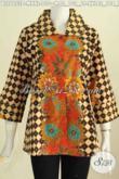 Blus Batik Istimewa Motif Bagus Banget, Baju Batik Kekinian Benang Besar Proses Printing Hanya 130K [BLS6653P-M]