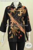 Baju Blus Elegan Proses Tulis, Pakaian Batik Kerah Kotak Motif Trendy Dasar Hitam Tampil Menawan [BLS6665T-S]