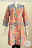 Baju Batik Atasan Wanita Terbaru, Busana Batik ELegan Berkelas Bahan Halus Motif Keren Proses Printing Kombinasi 2 Warna Hanya 125K [BLS6729P-S , M , L]