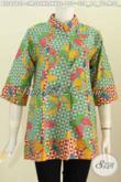 Jual Pakaian Batik 2 Warna, Baju Blus Batik Plisir Depan Baju Batik Kerja Wanita Terbaru Penampilan Lebih Berkelas [BLS6780P-XL , XXL]