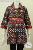 Toko Batik Online, Jual Grosir Eceran Baju Batik Wanita Modern Kwalitas Premium Bahan Halus Proses Cap Tulis Model Kerah Plisir Kain Polos [BLS6950CT-M]
