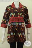 Grosir Baju Batik Wanita Murah Kwalitas Mewah, Baju Blus Krah Plisir Motif Berkelas Untuk Kerja Dan Acara Resmi [BLS6951CT-M]