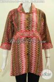Sedia Pakaian Batik Berkelas Untuk Wanita, Pakaian Batik Atasan Cewek Model Krah Plisir Kain Polos Motif Tirtateja Proses Cap Tulis Harga 195 Ribu [BLS6956CT-L]