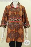 Jual Baju Batik Wanita Kerja, Baju Batik Solo Halus Desain Blus Krah Plisir Kain Polos Eceran Harga Grosir [BLS6957CT-L]