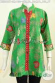 Jual Baju Batik Wanita Untuk Kerja, Blus Batik Solo Warna Hijau Motif Bunga Proses Printing Lengan 3/4Ofneisel Rempel Modis Banget [BLS6967P-S , M]