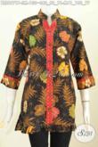 Koleksi Baju Batik Kerja Wanita 2020, Blus Batik Modern Trendy Lengan 3/4 Ofneisel Bahan Adem Motif Keren Proses Printing Hanya 130 Ribu Saja [BLS6971P-S , M]
