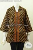 Blus Batik Klasik Elegan Bahan Halus Proses Cap Tulis, Pakaian Kerja Batik Wanita Muda Desain Resleting Depan Untuk Penampilan Makin Kekinian [BLS7013CTF-M]