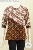 Blus Batik 2 Motif, Pakaian Batik Keren Desain Silang Kombinasi 2 Warna Bahan Adem Proses Cap, Tampil Lebih Mempesona [BLS7046C-M]