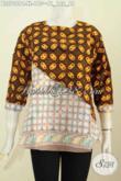 Blus Batik Keren Model Silang, Baju Batik Wanita Gaul Dengan Kombinasi 2 Motif Lengan Pakai Kancing Bahan Halus Proses Cap 165K [BLS7069C-XL]