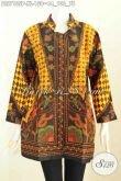 Baju Batik Atasan Wanita Kantor, Blus Batik Klasik Motif Sinaran Lenga Panjang Pakai Kerah Shanghai, Cocok Untuk Wanita Berhijab [BLS7135P-XL]