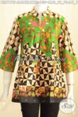 Batik Blus Trendy, Busana Batik Fahion Wanita Muda Dan Dewasa Model Kerah Shanghai Belahan Depan Tanpa Kancing Bikin Penampilan Lebih Modis [BLS7178P-M , L]