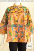 Batik Blus Solo Kerah Shanghai Modis Dengan Kombinasi Dua Warna Berpadu Motif Terkini Proses Printing, PAs Buat Kerja Dan Pesta [BLS7180P-L]