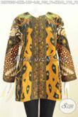 Pakaian Batik Elegan Klasik, Blus Tanpa Krah Pakai Ofneisel Desain Mewah Bahan Halus Proses Printing Harga 155K [BLS7220P-L]