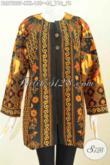 Baju Batik Kerja Wanita Model Terkini, Blus Batik Solo Elegan Tanpa Krah Pakai Ofneisel Motif Klasik Proses Printing Harga 100 Ribuan Saja [BLS7222P-XXL]