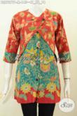 Trend Busana Batik Wanita 2020, Blus Batik Kombinasi Rompi Sambung 2 Warna Motif Bunga Proses Printing 145K [BLS7277P-M]
