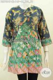Baju Blus Wanita Dewasa, Pakaian Batik Elegan 2 Motif Desain Kombinasi Rompi Sambung, Penampilan Lebih Berkelas Dan Mewah Dengan Harga Murah [BLS7284P-XL]