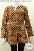 Blus Batik Kerja Wanita Masa Kini, Baju Batik Perempuan Karir Nan Elegan Mekar Bawah Motif Klasik Printing Hanya 100 Ribuan [BLS7302P-L]
