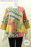 Batik Blus Motif Kombinasi, Pakaian Batik Wanita Muda Dan Dewasa Bahan Halus Motif Elegan Proses Printing Model A simetris Lengan Berpita Hanya 130K [BLS7317P-L]