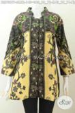 Baju Blus Elegan Bahan Batik Printing, Pakaian Batik Kerah Shanghai Untuk Kerja Kantoran Motif Klasik Harga 140K [BLS7397P-S]
