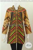 Jual Baju Blus Kerah Shanghai, Pakaian Batik Elegan Halus Motif Sinaran, Penampilan Makin Istimewa [BLS7400P-L]
