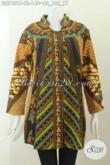 Batik Blus Size XL, Busana Batik Kerah Shanghai Motif Sinaran Nan Elegan Proses Printing Hanya 140 Ribu [BLS7401P-XL]