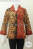 Blus Batik Kerah Cacah Kerah, Busana Batik Elegan Mewah Untuk Wanita Pejabat Dan Executive, Bahan Halus Motif Tulis Asli Paki Furing Tricot [BLS7422TF-L]
