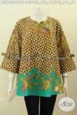 Foto Desain Baju Batik Wanita 2020, Blus Febi Kancing Depan Resleting Model A Dengan Lengan Berpita, Motif Bagus Proses Printing Harga 145K [BLS7482PC-L]
