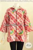 Baju Batik Kerja Wanita Modis, Blus Resti Elegan Klasik Proses Printing Pakai Resleting Dengan Berpadu Kerah Langsung Hanya 150K [BLS7513P-M]