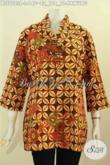 Blus Ofi Motif Kawung Klasik, Pakaian Batik ELegan Dna Trendy Pake Ofneisel Pada Kerah Dan Lengan Harga 140K [BLS7523P-L]