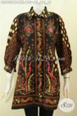Blus Batik Atasan Wanita Untuk Kerja, Busana Batik Pastion Model Kerah Dengan Lengan Paspol Motif Klasik Kombinasi Tulis, Tampil Gaya Dan Mempesona [BLS7551BT-XXL]