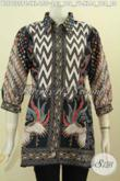 Pakaian Batik Kerja ELegan Wanita Dewasa, Blus Pastion Batik Model Kerah Berpadu Lengan Paspol Lebih Modis Dan Keren Harga 155K Proses Printing [BLS7555PC-L]
