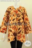 Pakaian Kerja Bahan Batik Wanita Dewasa, Blus Tanpa Krah Desain Trendy Motif Bagus Proses Printing Hanya 130K [BLS7588P-XL]